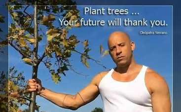 Вин Дизель организовал еще один флэшмоб - садить деревья