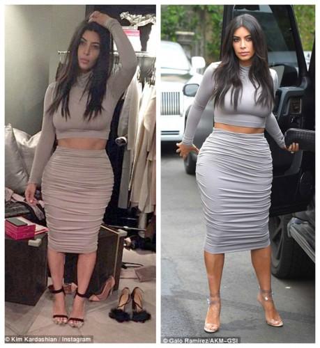 Ким Кардашян на фото в соцсети (слева) и на улице (справа)