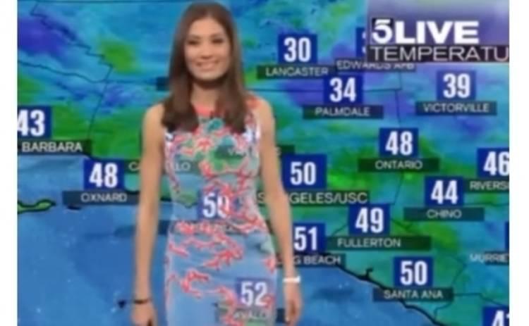Ведущая погоды осталась без платья (ВИДЕО)