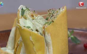 Кукурузные блины с творожной начинкой (рецепт)