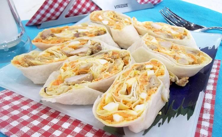 Закуска «Оливье-рулет» для праздничного стола (рецепт)